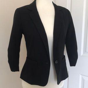 frechi black 3/4 ruched sleeve blazer jacket